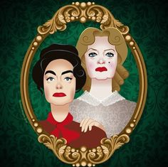'Whatever happened to Baby Jane', Bette Davis and Joan Crawford, Victorian Style Portrait, Digital Illustration.