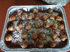 Fast and easy meal to take to friends.  Feeds 8. 2 pkg of frozen ravioli, 2 jars of spaghetti sauce, I pkg of shredded mozzarella, I pkg of meatballs.  Layer and cover with foil. Label to bake @ 350 for 45 minutes.