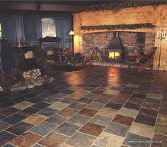 Rustic Multicolour Slate Floor Kitchen, Slate Bathroom, Kitchen Flooring, Limestone Flooring, Slate Flooring, Slate Tiles, Flooring Ideas, Natural Flooring, Tile Floor