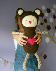 plush Bear Girl - cute art doll, children toy