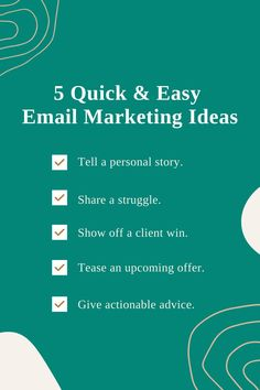 Not sure what to send to your list? These 5 email marketing ideas can help you quickly, effectively whip up a nurturing, engaging email, without letting your content creation strategy take over your whole schedule! #onlinebusiness #emailmarketing #copywritingtips Content Marketing Strategy, Marketing Ideas, Email Campaign, Free Tips, Starting Your Own Business, Copywriting, Online Work, Business Planning, Creative Business