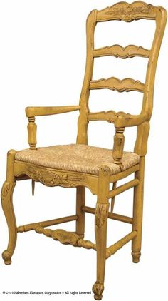 Habersham Country French Dining Arm Chair with Rush Seat