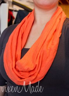 DIY No Sew Infinity Scarf out of one of your old shirts! so easy and great for those shirts that don't fit right anymore.