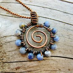 Blue Lapis Lazuli and Sodalite and Antiqued Copper - wire wrapped hammered open spiral pendant necklace
