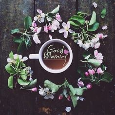 violet, vintage, flower, coffee, goodmorning. Upliked by adahauteville