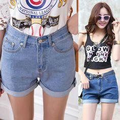 HOT 2014 new South Korea Style summer high waist thin blue denim shorts vintage short slim jeans plus size XXL shorts $15.99