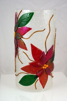 Fused Glass Poinsettia Sconce