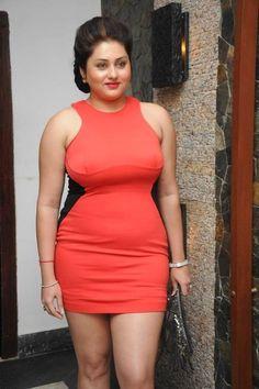 Kollywood Actress Namitha Kapoor in Gorgeous Tight Short Orange Colour Dress
