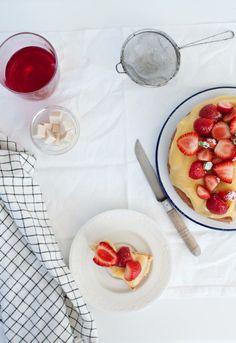 Lemon cake with lemon honey and raspberries