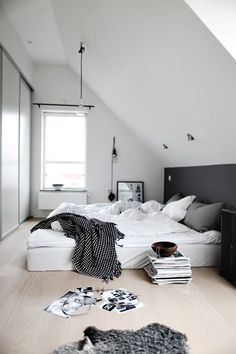 Dream bedroom, bed, black and white, interior, magazine, plant, white, chambre, noir et blanc