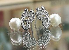 Women Elegant Silver Pearl Ear Studs Crystal Butterfly Earrings Fashion Jewelry