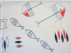 Vintage Atomic Fish Tablecloth California Hand Prints by NeatoKeen, $114.00