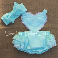Vintage retro Heart  Romper aqua mint baby toddler pinup rockabilly girl in swiss Dot with Lace handmade by Sunshine Baby Clothing USA