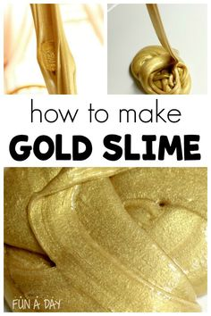 You need to read this if you're wondering how to make gold slime! This three ingredient gold slime recipe is definitely a must make with the kids. I love that it can be incorporated into a preschool pirate theme or St. Patrick's Day plans. #FunADay #PreschoolActivities #Slime #Slime Recipe #SlimeVideos #KidsActivities #HowtoMakeSlime #PirateTheme #StPatricksDay #StPatricksDayCrafts