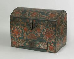 Lancaster County, Pennsylvania poplar and pine polychrome decorated compass box, ca. with punched sheet iron latch and escutcheon, single drawer and profuse red and white decoration on a blue background. Painted Trunk, Painted Chest, Painted Boxes, Wooden Boxes, Hand Painted, Antique Paint, Antique Decor, Antique Furniture, Painted Furniture