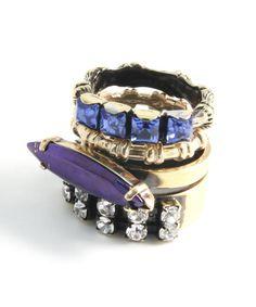 Bronze And Purple Swarovski Stacking Rings, Iosselliani Collection @ Liberty Nail Jewelry, Gems Jewelry, Jewelry Accessories, Fashion Accessories, Fashion Jewelry, Jewellery, Jewelry Box, Jewelry Making, Iosselliani
