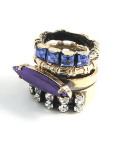 Bronze And Purple Swarovski Stacking Rings, Iosselliani Collection @ Liberty