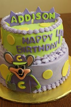 Mouse themed cake for a birthday party at Chuck E Cheese Dreamy