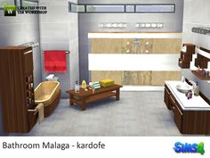Bathroom consisting of a shower, bath, vanity with sink, laundry cabinet, coffee table, mirror and some decorative Found in TSR Category 'Sims 4 Downloads'