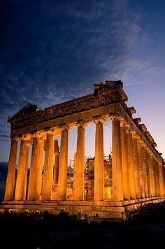 El Partenón (Acrópolis) al atardecer, Atenas, Grecia