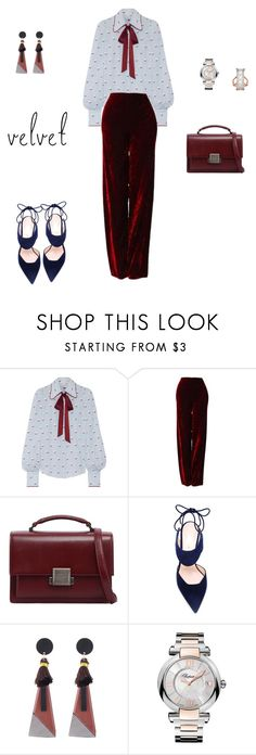 """Crushing on Velvet!"" by sebolita ❤ liked on Polyvore featuring Marc Jacobs, Versace, Yves Saint Laurent, Nicholas Kirkwood, Chopard and GUESS"