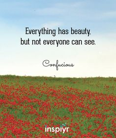 Everything has beauty, but not everyone can see. ~Confucious #Inspiyr