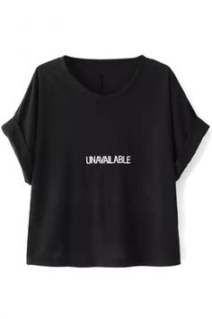 Crimping Short Sleeves Letter Embroidery Black Tee - Beautifulhalo.com