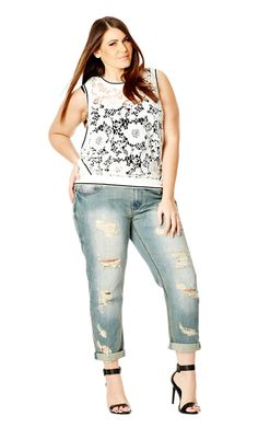 City Chic ROUGH RIDE BOYFRIEND JEAN AND ADD THIS TOP