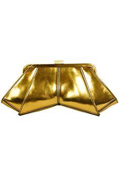 Gold Clutch! Designer Hand Bags Zac Posen Accessories 2014