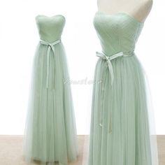Mint Green Sweetheart Tulle Long Bridesmaid Dresses #promdress2015