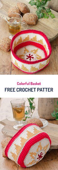 Colorful Basket Free Crochet Pattern #organizer #homedecor #diy #crafts #crochet #yarn Crochet Quilt, Tapestry Crochet, Thread Crochet, Crochet Yarn, Knitting Yarn, Crochet Hooks, Free Crochet, Crochet Baskets, Mochila Crochet