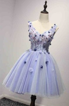 Custom made-to-order formal dress by GemGrace. Multiple colors and all sizes available. Additional photos also available upon request. A-line Purple V-neck Flowers Prom Dress 2016, Homecoming Dress 2016