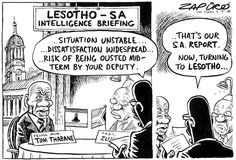 Zapiro: Lesotho intelligence briefing - The Mail & Guardian Satire, Caricature, Cartoons, Humor, Comics, Memes, South Africa, Image, Cartoon