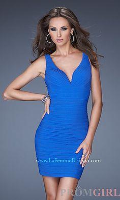 Short Ruched V-Neck Dress at PromGirl.com