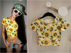 Women Sexy Close Fitting Crop top Cotton Graphic Short Slim Short-sleeve Fashion Sunflower Print Flower T shirt 2014 Womans New US $8.97