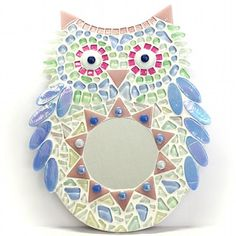 mosaic owl mirror pastel