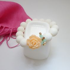 #MothersDay #Giftidea for #young mothers | #Fashionjewelry | #WhiteAsh #coral #bracelet with #peachflower | Mother's Day #SpecialOffer until May 10, 2015; Original price: C$24.99  https://www.ibrightenshop.com/store/p31/White_ash_coral_bracelet_with_peach_flower.html