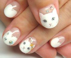 2017 summer cute nail art designs | short | gel polish | cat | kitten