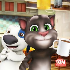 Talking Hank is making us delicious apple cider. Should I trust him with this one? xo, Talking Angela #TalkingAngela #MyTalkingAngela #TalkingHank #LittleKitties #autumn #fall