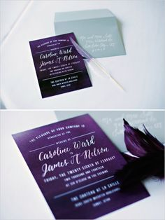 Purple wedding invitation with feather.