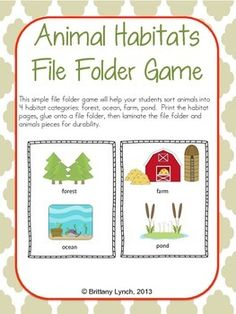 Animal Habitats (File Folder Game)