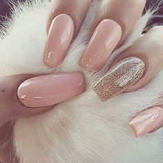 Pink Glitter almond nails. Coffin nails for summer