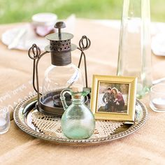 Add a personal touch to each table with a framed photo from your engagement session.