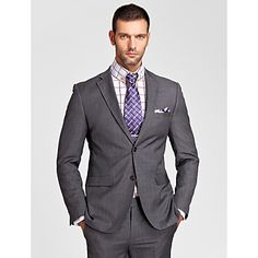 Gray Polyester Tailored Fit Two-Piece Suit – USD $ 69.99