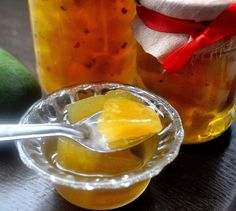 Murabba or morobba (in Bengali), or preserved fruits in thick sugar syrup,  is  an Arabic word that refers to savory or sweet jam or pickle in many regions of Pakistan and also Gujarat region of India. Traditionally it is sweet, prepared with raw mangoes, sugar, and spices.