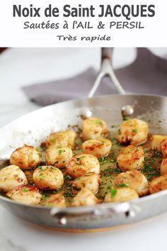 Saint Jacques Poelees, Risotto Cremeux, Soul Food, Bon Appetit, Ethnic Recipes, Cooker Recipes, Parsley, Garlic, Mediterranean Kitchen