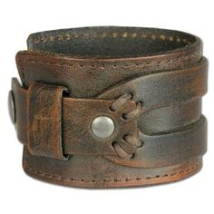 SilberDream Leather Bracelet antic brown with rivets and other adornments - fits up to 8'' - for Man or Woman Leather Bracelets genuine Leather LA4293B