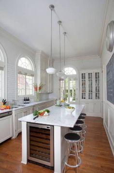 narrow kitchen islan