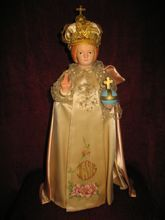 Large Jesus Infant of Prague Statue Decorated Robe and Jeweled Crown
