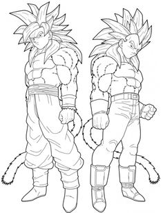 Vegeta And Goku Super Saiyan 4 Coloring Pages